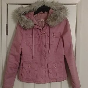 Plugg women's sz M fur trimmed jacket pink